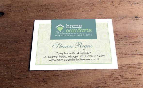 home comforts business card design