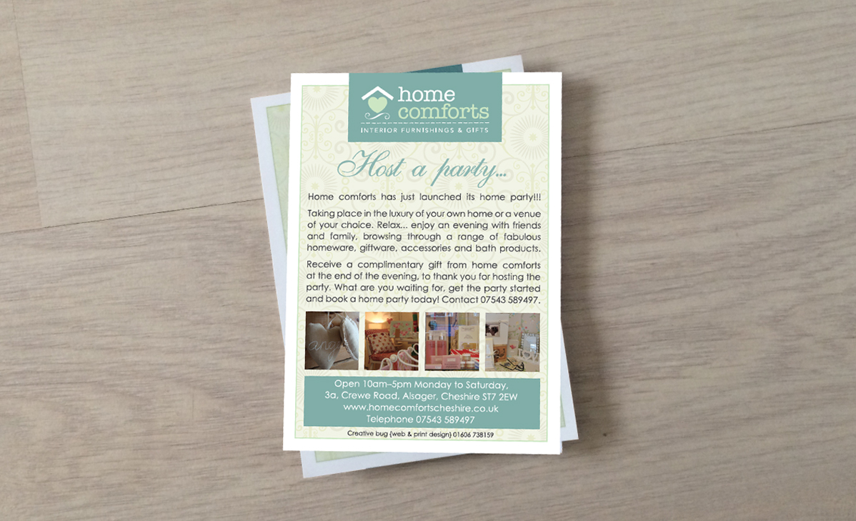 home comforts A6 flyer design